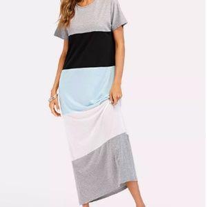 Color Block Short Sleeve Long Dress